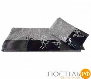 """H0001269 Махровое полотенце с вышивкой 70x140 """"FLORA"""", св.серый, 100% Хлопок"""