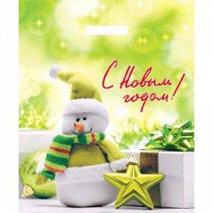 Пакет с вырубной ручкой 38х45+3 (45) артпласт нг (веселый снеговик) россия