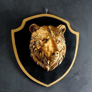"""Панно """"Голова медведя"""" бронза, щит черный 40см"""