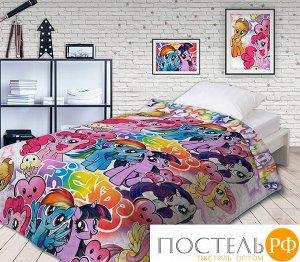 Код: 516130 Покрывало стеганое 'Непоседа' НЕОН 145х200 'My Little Pony' Граффити 16027+16028