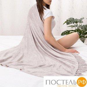 Плед Этель 125*150см, цв. серебряный, акрил, 100% полиэстер   4195579