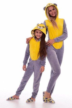 Пижама женская Кигуруми Мишка 1-146 (лимон)