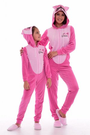 Пижама женская Кигуруми Енот 1-155а (розовый)