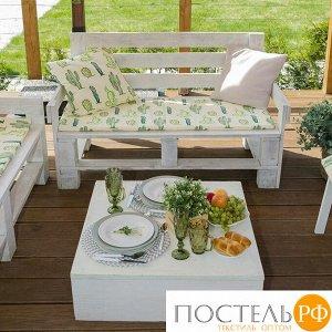 Подушка на 2-местную скамейку Этель: Кактусы, 45 ? 120 см, репс с пропиткой ВМГО, 100%-ный хлопок