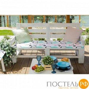Подушка на двухместную скамейку «Этель» Квадраты, 45?120 см, репс с пропиткой ВМГО, 100% хлопок