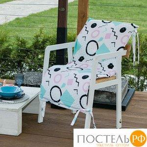 Подушка на уличное кресло «Этель» Квадраты, 50?100+2 см, репс с пропиткой ВМГО, 100% хлопок