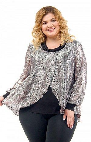 3035 блуза Женственная двойная блуза. Верхняя накидка из тонкого серебристого трикотажа с легким узором под «леопард» с бордовыми линиями. Нижняя блуза из тонкого шелковистого трикотажа черного цвета.
