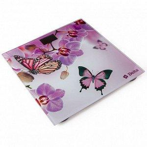 """Весы 180 кг 26х26 см электронные напольные DELTA D-9235/1 """"Бабочки в цветах"""""""