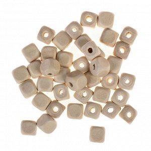 Бусины деревянные кубики 10х10 мм (набор 40 шт) без покрытия