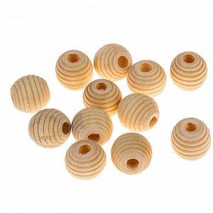Бусины деревянные улей 12х13 мм (набор 12 шт) без покрытия