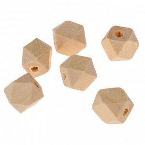 Бусины деревянные многогранники 10х10 мм (набор 6 шт) без покрытия