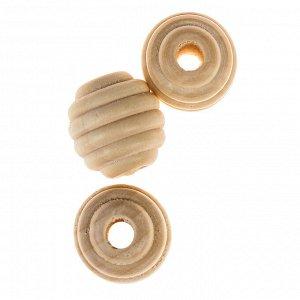 Бусины деревянные улей 20х21 мм (набор 3 шт) без покрытия