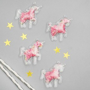 Декор для творчества «Единорог» набор 4 шт, размер 1 шт: 4,5?0,5?6 см, цвет розовый