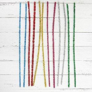 Проволока с ворсом для поделок и декорирования, набор 100 шт., цвета МИКС с блеском