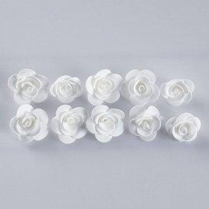 """Набор цветов для  декора """"Роза"""", из фоамирана, D= 3 см, 10 шт, белый"""