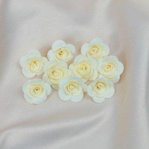 """Набор цветов для  декора """"Роза"""", из фоамирана, D= 3 см, 10 шт, бежевый"""