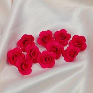 """Набор цветов для  декора """"Роза"""", из фоамирана, D= 3 см, 10 шт, красный"""
