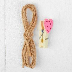Набор для фото и декора «Сердца», в наборе прищепки 10 шт., верёвка 100 см