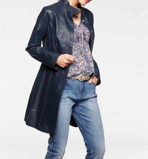 Кожаное пальто, синее