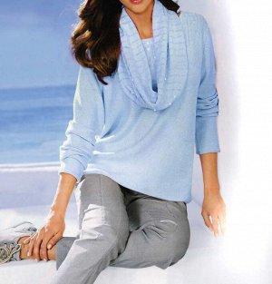 Пуловер и шарф, голубые