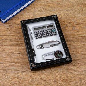 Набор подарочный 4в1 (ручка, калькулятор, карабин-компас, нож 3в1)