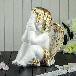 """Статуэтка """"Ангел мечтающий"""" белая, с золотистым декором, 26 см"""