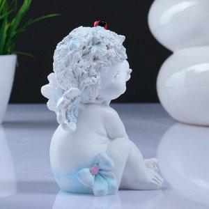 "Фигура ""Ангелочек с божьей коровкой"" белый 8.5х10х14см"