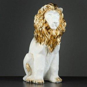 """Фигура """"Лев сидя огромный"""" перламутр-золото 55х28х43см"""
