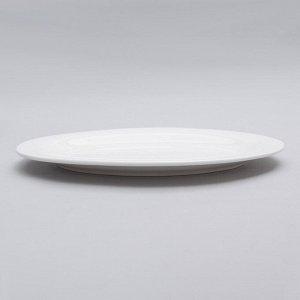 Блюдо овальное «White Label», с утолщённым краем, цвет белый, 25,5?18?2 см