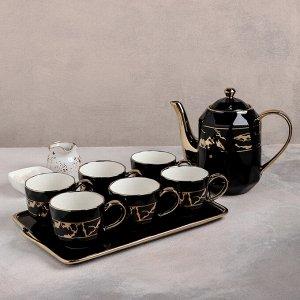 Набор чайный «Рея», 7 предметов: чайник 1 л, 6 кружек 250 мл, на керамической подставке