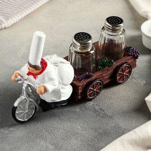 Набор для специй «Пекарь на велосипеде», 2 шт: солонка и перечница