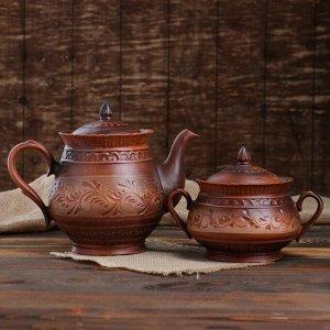 """Чайный набор """"Витязь"""" чайник-1 л и сахарница, роспись ангобом, красная глина, микс"""