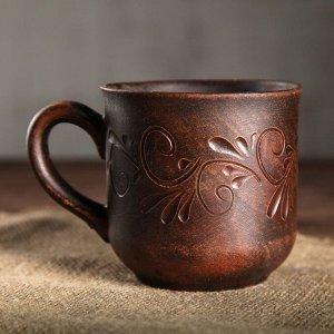 "Чашка ""Семейная"", декор, красная глина, 0,35 л"