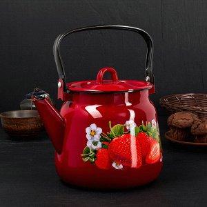 Чайник сферический «Клубника садовая», 3,5 л, цвет вишнёвый/чёрный рябчик с петлёй
