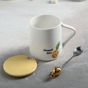 Кружка «Ананас», 450 мл, с керамической крышкой и ложкой, рисунок МИКС