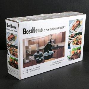 Набор посуды «Дом», 4 предмета: кастрюли 2 шт: 2,2 л, 4,3 л, ковш 1,3 л, сковорода