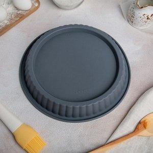 Форма для выпечки Доляна «Рифлёный круг», d=27 см, цвет МИКС
