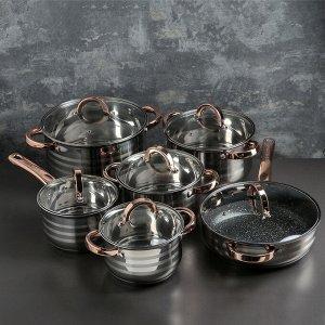 Набор посуды «Голд», 6 предметов: ковш 2,1 л, кастрюли 2,1 / 2,9 /3,9 / 6,6 л, сотейник с антипригарным покрытием 3,4 л