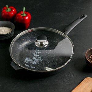 Сковорода 26 см со съёмной ручкой, стеклянная крышка, антипригарное покрытие, тёмный мрамор