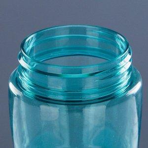Бутылка для воды 650 мл, прозрачная, с резиновой вставкой, 7х24.5 см, микс