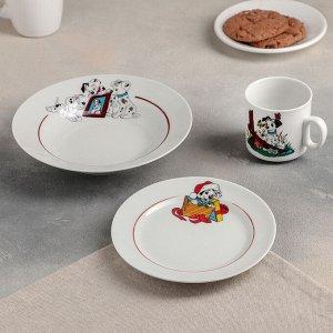 Набор посуды «Далматинцы», 3 предмета: кружка 200 мл, тарелка глубокая 230 мл, 20 см, тарелка мелкая 17 см, рисунок МИКС