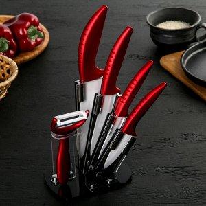 Набор кухонный «Бордо», 5 предметов: лезвие 7,5/10/13/15 см, овощечистка, на подставке 852225