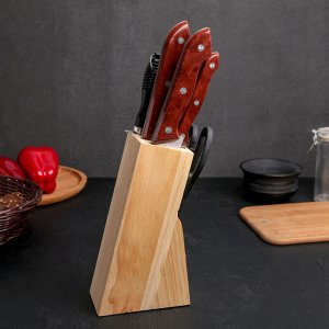 Набор кухонный на подставке, 7 предметов: ножи 19 см, 23 см, 21 см, 31 см, 31 см, ножницы 21, мусат, цвет коричневый