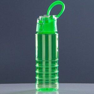 Бутылка для воды спортивная с откидной крышкой и поильником,650 мл, микс