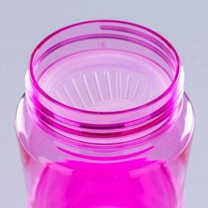 Бутылка для воды 550 мл Zan, на шнурке, резиновая вставка, микс, 7х7х22 см