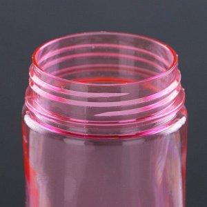 Бутылка для воды 650 мл, спортивная, прозрачная, с трубкой и крышкой, микс, 7.5х22 см