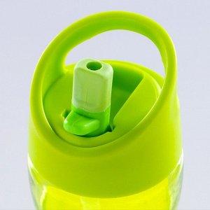 Бутылка для воды 400 мл, спортивная, вставка силиконовая посередине, микс, 7х19 см