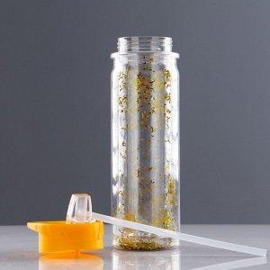 Бутылка для воды 500 мл, с соской, блестки, 24х10 см, микс