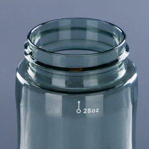Бутылка для воды 800 мл, с поильником, на карабине, 7.5х27 см, микс