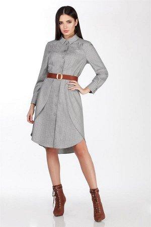 Платье Платье LaKona 1258 серый с голубым  Состав ткани: Вискоза-32%; ПЭ-65%; Спандекс-3%;  Рост: 164 см.  Платье. Выполнено из костюмно-плательной ткани в клетку. Молодежное платье средней длины, во
